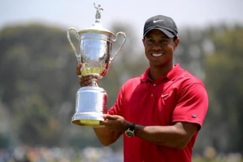 Tiger Woods bei seinem letzten Major-Sieg: Die US Open 2008.