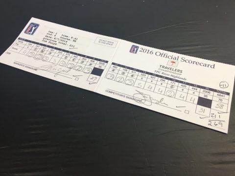 So sieht eine Scorekarte aus, die Golfgeschichte schreibt.
