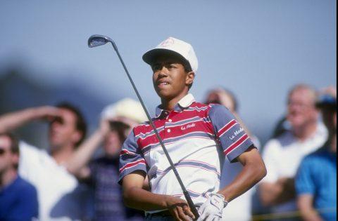 27 Feb 1992: Tiger Woods spielte als damals 16-jähriger Teenager bei der Los Angeles Open sein erster PGA Tour Turnier als Amateur im Riviera Country Club (Kalifornien). Mandatory Credit: Gary Newkirk /Allsport