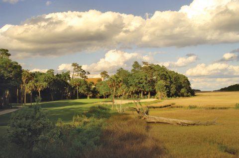 Große Zedern und Eichen stehen am 3. Grün des Osprey Golf Courses auf Kiawah Island. Das Par 3 führt bis zu 160 Meter über das Marschland.