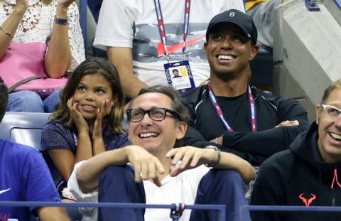Tiger Woods mit seiner Tochter Sam bei den US Open in New York.
