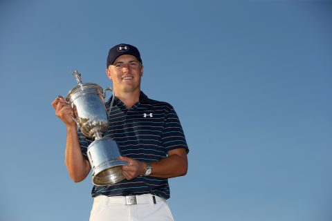UNIVERSITY PLACE, WA - JUNE 21: Jordan Spieth of the United States poses with the trophy for photographers after winning the 115th U.S. Open Championship at Chambers Bay on June 21, 2015 in University Place, Washington. (Photo by Ezra Shaw/Getty Images)