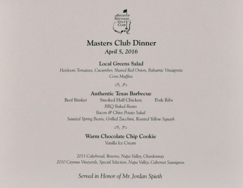 Masters Champions Dinner