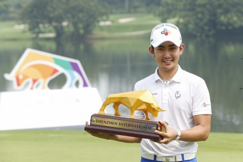 SHENZHEN, CHINA - APRIL 25: Soomin Lee of South Korea holds the trophy after winning the Shenzhen International at Genzon Golf Club on April 25, 2016 in Shenzhen, China. (Photo by Lintao Zhang/Getty Images)