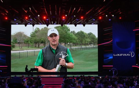 BERLIN, GERMANY - APRIL 18: Golfer Jordan Spieth poses with his Laureus World Breakthrough of the Year Award trophy via video during the 2016 Laureus World Sports Awards at the Messe Berlin on April 18, 2016 in Berlin, Germany. (Photo by Ian Walton/Getty Images for Laureus)