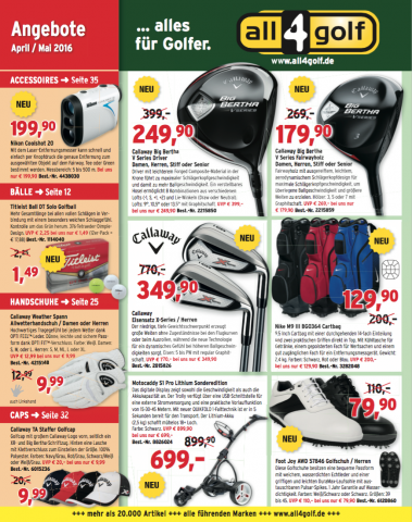 Für viele Golfer sieben Mal jährlich eine Pflichtlektüre: der all4golf Angebots- Katalog.