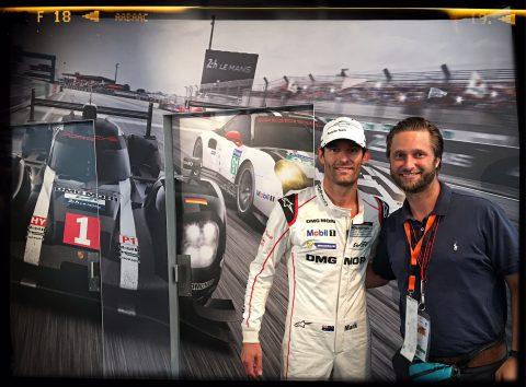 Treffen mit Porsche-Star-Fahrer Mark Webber.