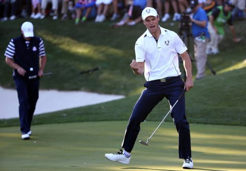 during the Singles Matches for The 39th Ryder Cup at Medinah Country Club on September 30, 2012 in Medinah, Illinois.