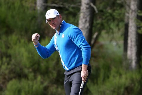 AUCHTERARDER, SCOTLAND - SEPTEMBER 26: Lee Westwood of Europe celebrates a birdie on the 6th green during the Afternoon Foursomes of the 2014 Ryder Cup on the PGA Centenary course at the Gleneagles Hotel on September 26, 2014 in Auchterarder, Scotland. (Photo by Ross Kinnaird/Getty Images)