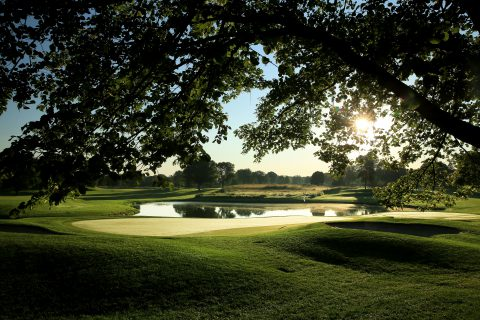 CHASKA, MN - AUGUST 12: A view from behind the green on the 182 yards par 3, 8th hole (which normally plays as the 17th hole) at Hazeltine National Golf Club the host venue for the 2016 Ryder Cup Matches on August 12, 2015 in Chaska, Minnesota. (Photo by David Cannon/PGA of America via Getty Images)