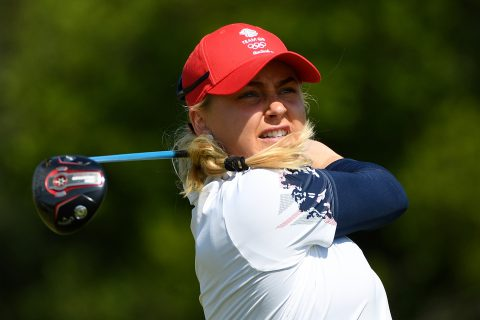 RIO DE JANEIRO, BRAZIL - AUGUST 17: Charley Hull of Great Britain plays her shot from the fifth tee during the First Round of Women's Golf at Olympic Golf Course on Day 12 of the Rio 2016 Olympic Games on August 17, 2016 in Rio de Janeiro, Brazil. (Photo by Ross Kinnaird/Getty Images)