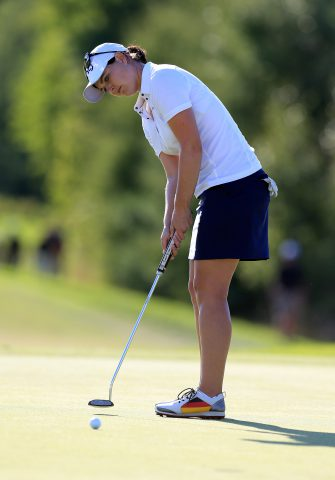 CAMBRIDGE, ON - SEPTEMBER 04:  Caroline Masson of Germany putts for birdie on the 18th hole during the final round of the Manulife LPGA Classic at Whistle Bear Golf Club on September 4, 2016 in Cambridge, Canada.  (Photo by Vaughn Ridley/Getty Images)