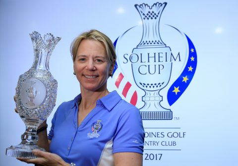 RANCHO MIRAGE, CA - MARCH 30: Annika Sorenstam of Sweden poses with the Solheim Cup during the press conference to announce her as the 2017 European Solheim Cup Captain held during the ANA Inspiration at Mission Hills Country Club on March 30, 2016 in Rancho Mirage, California. (Photo by David Cannon/Getty Images)