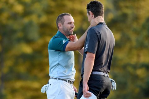 AUGUSTA, GA - APRIL 09: Justin Rose (R) of England congratulates Sergio Garcia (L) of Spain after Garcia won on the first playoff hole during the final round of the 2017 Masters Tournament at Augusta National Golf Club on April 9, 2017 in Augusta, Georgia. (Photo by Harry How/Getty Images)