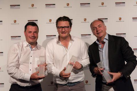 Porsche Golf Cup World Final 2017: Sieger der Nettoklassen - Rodolphe Combes (Großbritannien, Netto B), Jens Schröder (Deutschland, Netto A) und Arnaud Feneon (Frankreich, Netto C).