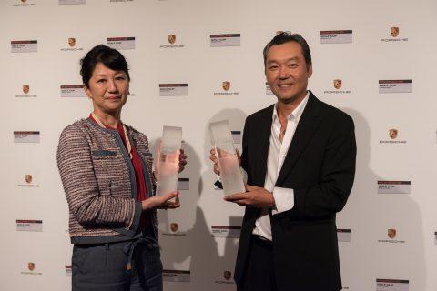 Porsche Golf Cup World Final 2017: Minako Mitsugi (Japan) und Renato Song (Brasilien) - Sieger Bruttowertung Damen und Bruttowertung Herren.