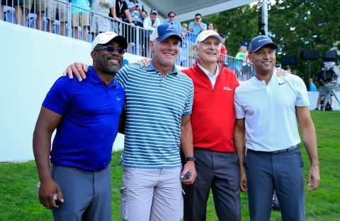MADISON, WI - JUNE 24: Darius Rucker, Bret Favre, Andy North and Derek Jeter pose for a photo after playing in the Celebrity Foursome benefiting the American Family Children's Hospital during the second round of the American Family Insurance Championship held at University Ridge Golf Course on June 24, 2017 in Madison, Wisconsin.  (Photo by Michael Cohen/Getty Images)