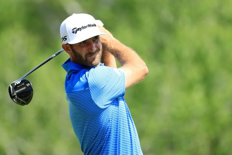 AUSTIN, TX - MARCH 26: Dustin Johnson tees off on the 3rd hole during the final match of the World Golf Championships-Dell Technologies Match Play at the Austin Country Club on March 26, 2017 in Austin, Texas. (Photo by Richard Heathcote/Getty Images)
