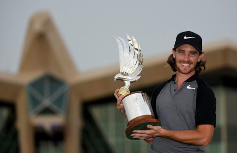 ABU DHABI, UNITED ARAB EMIRATES - JANUARY 22: Tommy Fleetwood of England celebrates with the winners trophy after the final round of the Abu Dhabi HSBC Championship at Abu Dhabi Golf Club on January 22, 2017 in Abu Dhabi, United Arab Emirates. (Photo by Ross Kinnaird/Getty Images)