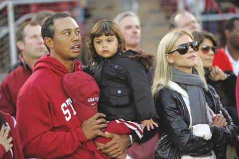 Ein Bild aus besseren Tagen: Tiger mit Gattin Elin und der gemeinsamen Tochter Sam, die inzwischen zehn Jahre alt ist. Sohn Charlie ist zwei Jahre jünger. Bisher teilen sich die Eltern das Sorgerecht.