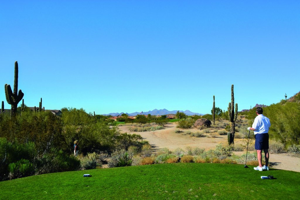 Las Sendas Golf Club in Mesa im Valley of the Sun. Hier Abschlag Bahn 6. Foto: I.v.Wilcke