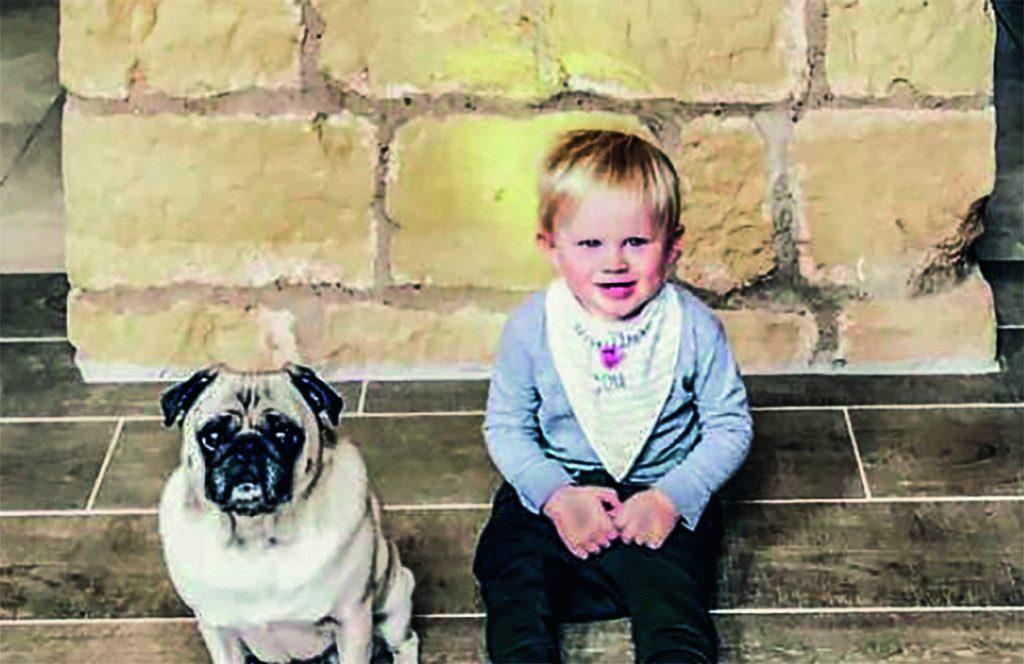 """Zachariah James Willett kam im März 2016 kurz vor dem Masters-Sieg seines Vaters zur Welt. Hier posiert Willett Junior neben seinem vierbeinigen Kumpel, Mops """"Spike""""."""
