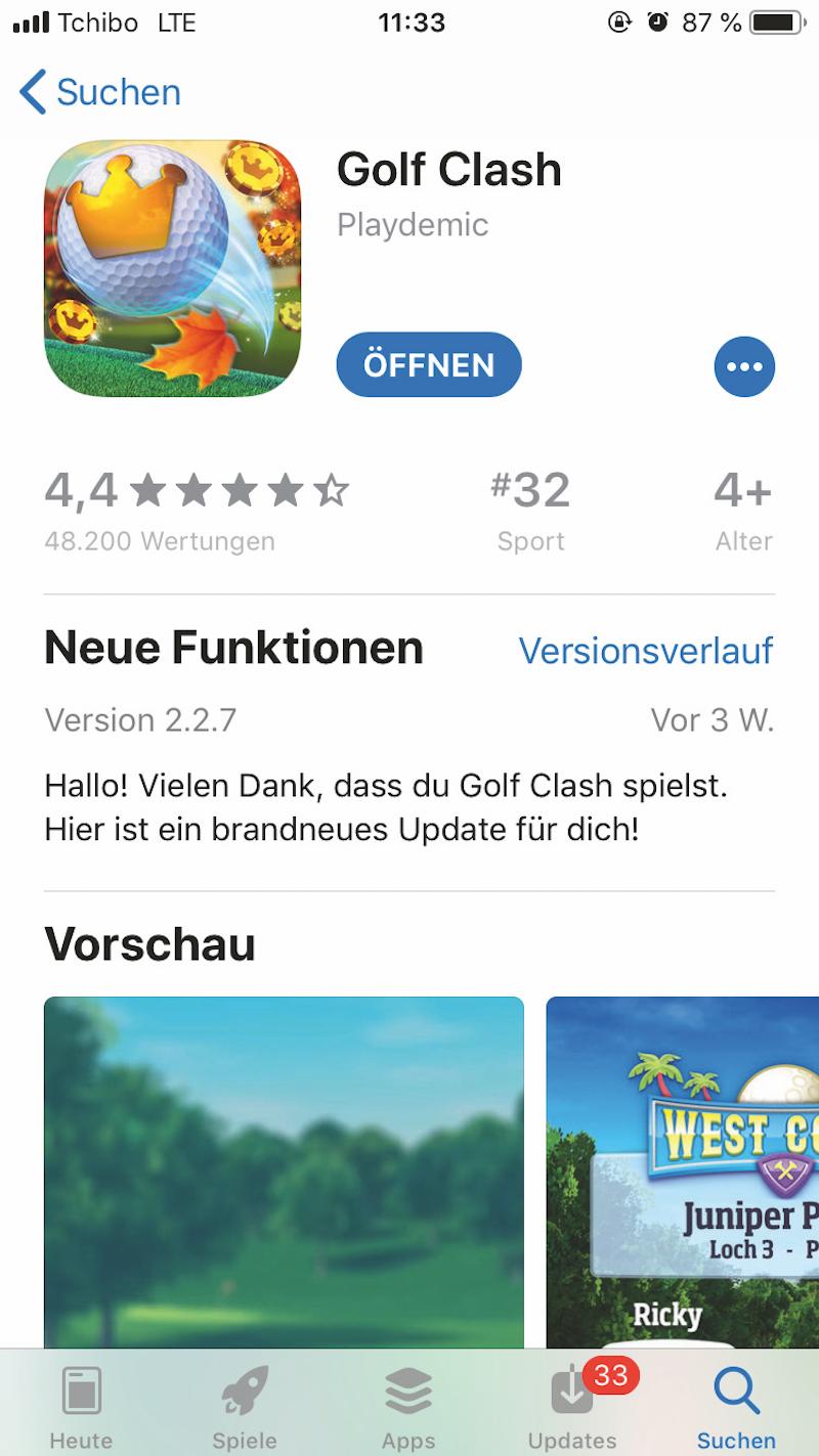 Die App Golf Clash im Applestore