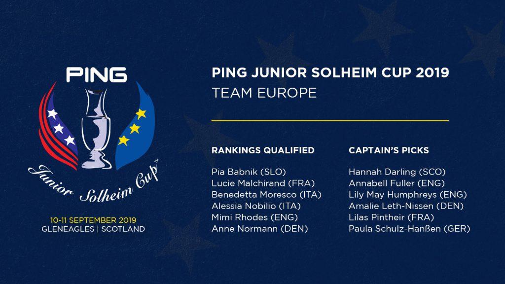 Team Europa Ping Junior Solheim Cup 2019
