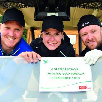 Golf-Marathon – 70 Jahre GOLF MAGAZIN.Arne Schumann, Monique Krause und Toni Dittmann (von links) haben gerade erst mit Golf angefangen. Sie waren Feuer und Flamme und haben die 70 Bahnen durchgehalten. (Foto: Elke A. Jung-Wolff)