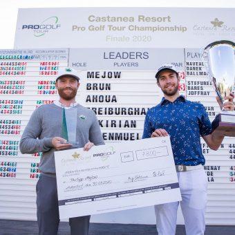 Philipp Mejow (links) gewinnt das Finale der Pro Golf Tour in Adendorf und Thomas Rosenmüller ist Sieger der Pro Golf Tour Order of Merit 2020. (Foto: Stefan Heigl/Pro Golf Tour).