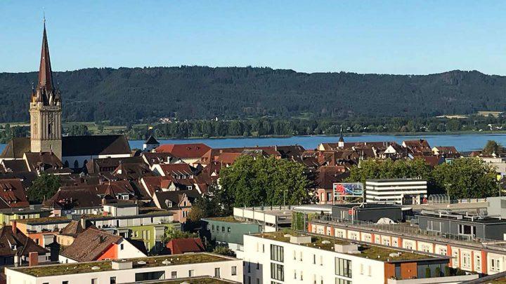 Golfen am Bodensee: Der Ausblick vom Hotel Aquaturm am Bodensee.