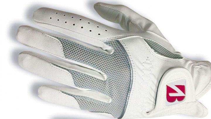 """Bridgestone Lady Glove Das Damenmodell ist eine Synthetik-Kombination aus Mikrofaser und Cabretta-Leder. Verstärkungen im Bereich des Ballens und des Daumens sollen für Langlebigkeit sorgen. Das Netzmaterial im Handrücken verbessere die Passform und unterstütze eine optimale Luftzirkulation. Für das """"B"""" im Verschluss stehen vier Farbtöne zur Auswahl (Pink, Violett, Grün, Orange). Preis:17,95"""