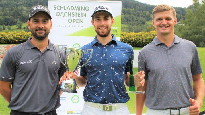 Die besten Golfer der Schladming Dachstein Open: Moritz Lampert (T2), Thomas Rosenmüller und Mateusz Gradecki (T2), v.l.