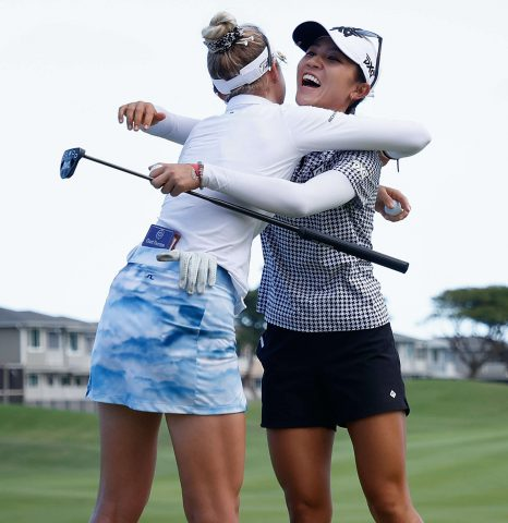 KAPOLEI, HAWAII - APRIL 17: Lydia Ko of New Zealand receives a hug from Nelly Korda of the United States after winning the LPGA LOTTE Championship at Kapolei Golf Club on April 17, 2021 in Kapolei, Hawaii. (Photo by Christian Petersen/Getty Images)