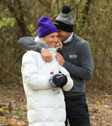 ATZENBRUGG, AUSTRIA - APRIL 14: Martin Kaymer of Germany is pictured with Irene Scholz during practice for the Austrian Golf Open at Diamond Country Club on April 14, 2021 in Atzenbrugg, Austria. (Photo by Andrew Redington/Getty Images)