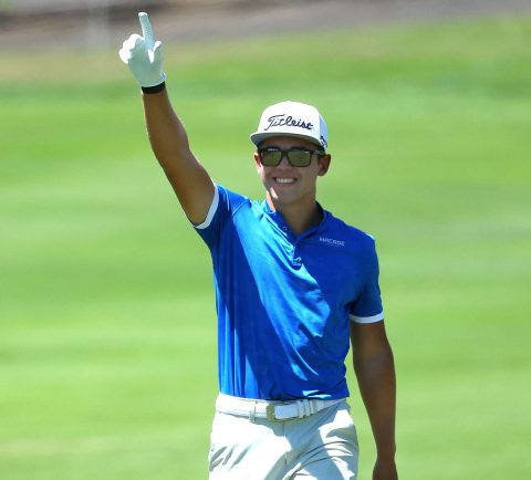 Garrick Higgo of South Africa acknowledges the crowd as he walks down the 18th fairway during the final round of the Canary Islands Championship at Golf Costa Adeje on May 09, 2021 in Tenerife, Spain. (Photo by Andrew Redington/Getty Images)