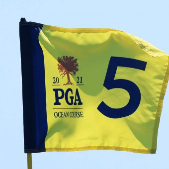 KIAWAH ISLAND, SOUTH CAROLINA - MAY 17: A pin flag is displayed on the fifth green during a practice round prior to the 2021 PGA Championship at Kiawah Island Resort's Ocean Course on May 17, 2021 in Kiawah Island, South Carolina. (Photo by Sam Greenwood/Getty Images)