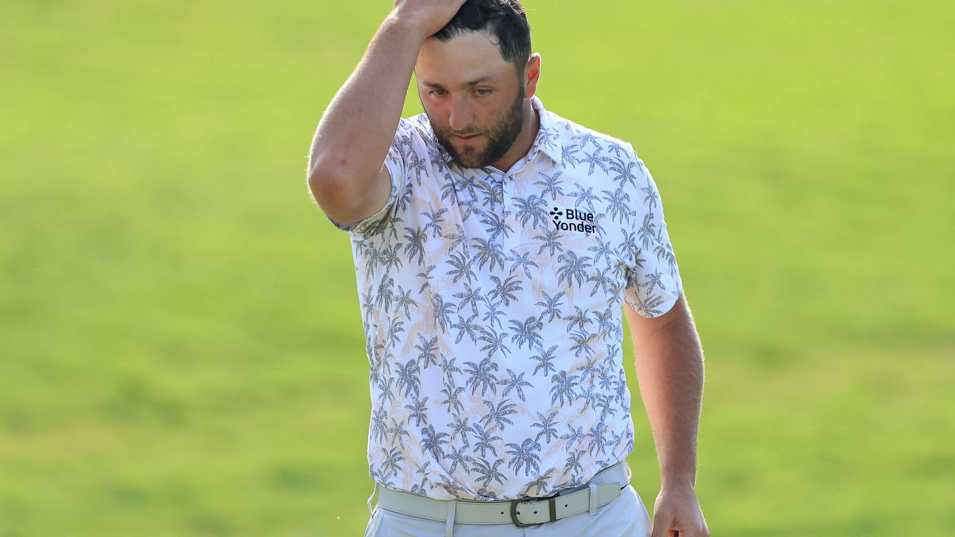 DUBLIN, OHIO - JUNE 05: Jon Rahm of Spain reacts as he walks off the 18th green after completing his third round of The Memorial Tournament at Muirfield Village Golf Club on June 05, 2021 in Dublin, Ohio. (Photo by Sam Greenwood/Getty Images)