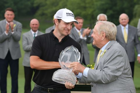 DUBLIN, OHIO - JUNE 06: Patrick Cantlay of the United States poses with Jack Nicklaus and the trophy after winning The Memorial Tournament in the first playoff hole of the final round of The Memorial Tournament at Muirfield Village Golf Club on June 06, 2021 in Dublin, Ohio. (Photo by Andy Lyons/Getty Images)