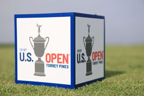 SAN DIEGO, CALIFORNIA - JUNE 14: A tee marker is seen during a practice round prior to the start of the 2021 U.S. Open at Torrey Pines Golf Course on June 14, 2021 in San Diego, California. (Photo by Sean M. Haffey/Getty Images)