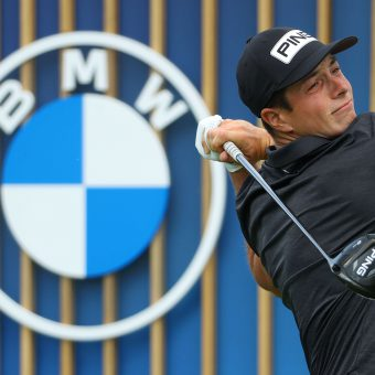 MUNICH, GERMANY - JUNE 26: Viktor Hovland of Norway tees off on the fourth hole during Day Three of The BMW International Open at Golfclub Munchen Eichenried on June 26, 2021 in Munich, Germany. (Photo by Andrew Redington/Getty Images)