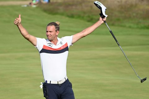 Germany's Marcel Siem reacts on the 18th green at the end of their final round on day 4 of The 149th British Open Golf Championship at Royal St George's, Sandwich in south-east England on July 18, 2021. - RESTRICTED TO EDITORIAL USE (Photo by Paul ELLIS / AFP) / RESTRICTED TO EDITORIAL USE (Photo by PAUL ELLIS/AFP via Getty Images)