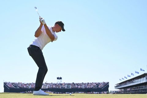 Germany's amateur golfer Matthias Schmid tees off on the 16th during his final round on day 4 of The 149th British Open Golf Championship at Royal St George's, Sandwich in south-east England on July 18, 2021. - RESTRICTED TO EDITORIAL USE (Photo by Glyn KIRK / AFP) / RESTRICTED TO EDITORIAL USE (Photo by GLYN KIRK/AFP via Getty Images)
