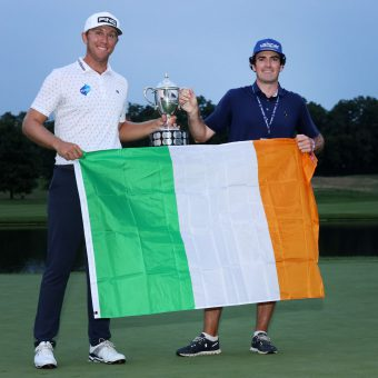 NICHOLASVILLE, KENTUCKY - JULY 18: Seamus Power of Ireland poses with the trophy and his caddie Aaron Flener after putting in to win on the 18th hole during the sixth playoff hole during the final round of the Barbasol Championship at Keene Trace Golf Club on July 18, 2021 in Nicholasville, Kentucky. (Photo by Andy Lyons/Getty Images)