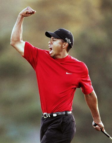 Tiger Woods of the US celebrates winning