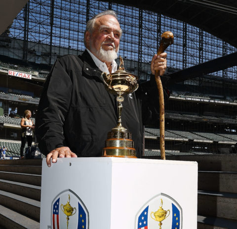 Chairman of the Kohler Company Herb Kohler poses with the Ryder Cup Trophy