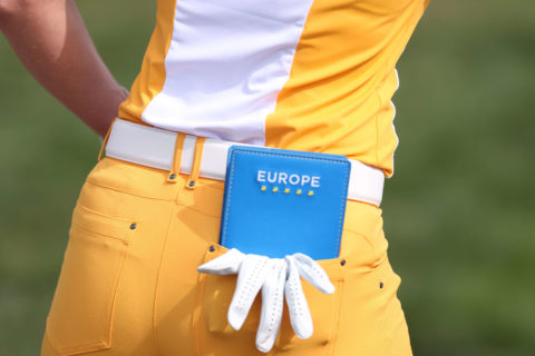 TOLEDO, OHIO - SEPTEMBER 03: Detail of the yardage book of Sophia Popov of Team Europe during a practice round ahead of the start of The Solheim Cup at Inverness Club on September 03, 2021 in Toledo, Ohio. (Photo by Gregory Shamus/Getty Images)