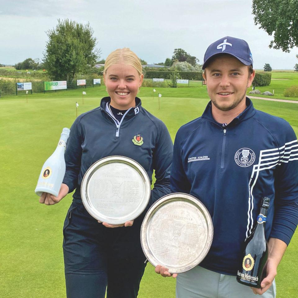 Die neuen GVSH-Meister 2021: Julia Bäumken (GC altenhof) und Jonah Lawrenz (Förde GC Glücksburg).