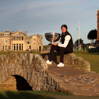 ST ANDREWS, SCOTLAND - OCTOBER 03: Danny Willett of England poses with the trophy on the Swilcan Bridge on the 18th hole following victory during Day Four of The Alfred Dunhill Links Championship at The Old Course on October 03, 2021 in St Andrews, Scotland. (Photo by Matthew Lewis/Getty Images)